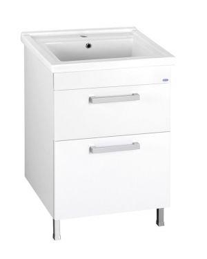 POLY umyvadlová skříňka 56x74,6x46,5cm, 2xzásuvka, bílá